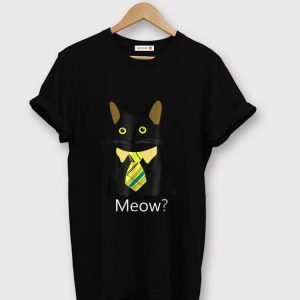 Nice Black Business Cat Kitten with Yellow Tie Meow shirt