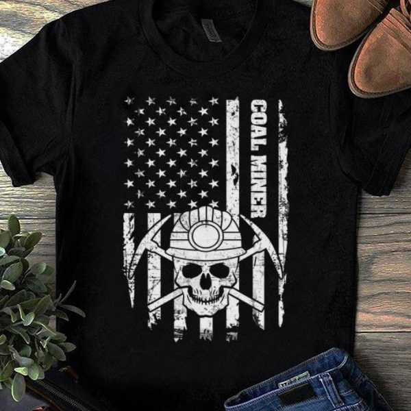 Nice Coal Miner American Flag Skull shirt