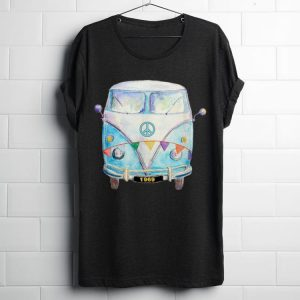 Official 1969 Hippie Peace Van Campervan Colorful shirt