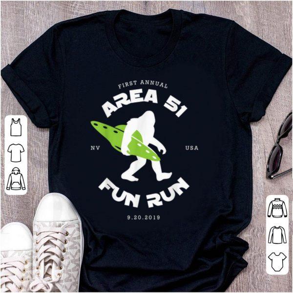 Original First Annual Area 51 Fun Run Bigfoot Ufo shirt