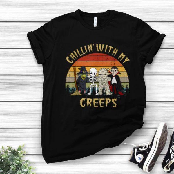 Premium Chillin With My Creeps Vampire Halloween Skeleton Witch