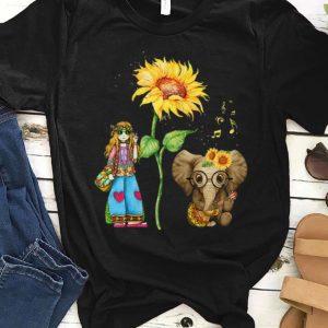 Premium Hippie Girl Sunflower Elephant Guitar shirt