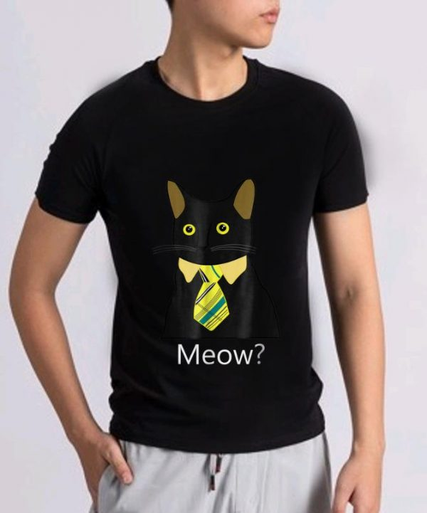 Pretty Black Business Cat Kitten with Yellow Tie Meow shirt