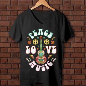 Pretty Peace Love Music Guitar Hippies Retro shirt