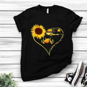 Camping Makes Me Happy Sunflower Camping Heart shirt