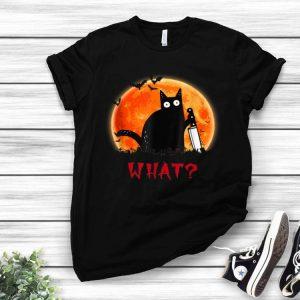 Cat What Halloween Black Cat Murderous Cat With Knife shirt