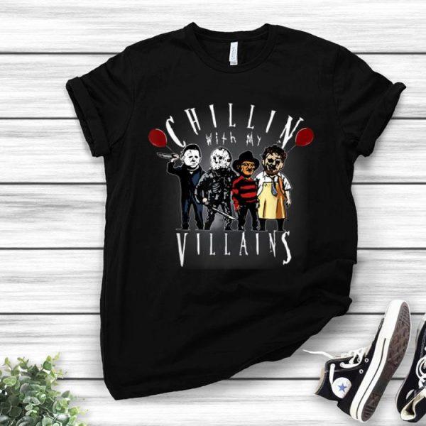 Chillin With My Villains Creepy Halloween Horror Character shirt