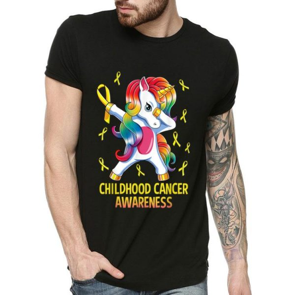 Dabbing Unicorn Childhood Cancer Awareness shirt
