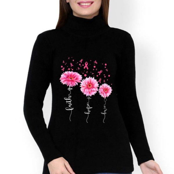 Faith Hope Love Pink Daisy Flower Breast Cancer Awareness shirt