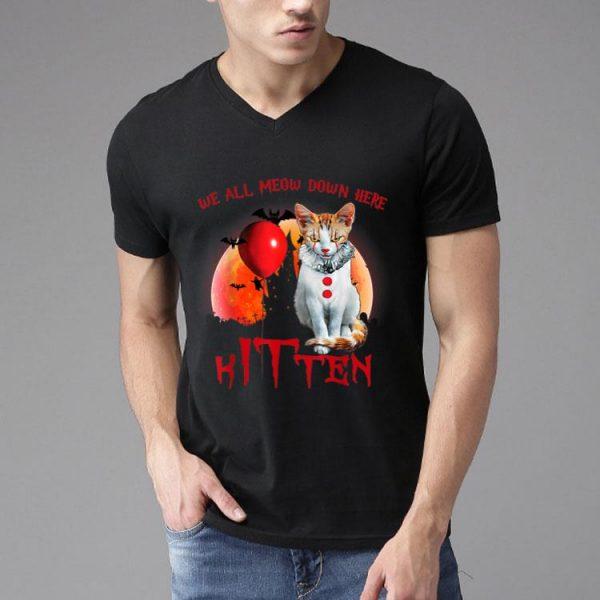 Halloween We All Meow Down Here Kitten IT Clown Cat shirt