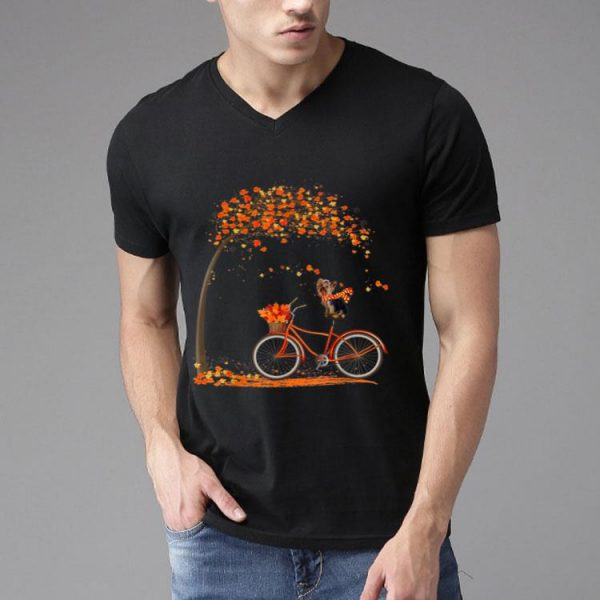 Lovely Yorkie In Fall - Dog Riding Bicycle shirt