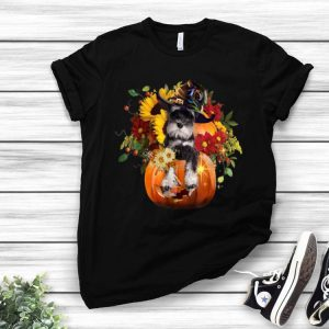 Miniature Schnauzers Pumkin Halloween Flower shirt