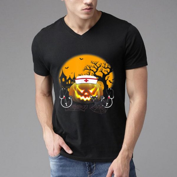 Nurse Costume Halloween Stethoscope Pumpkin shirt