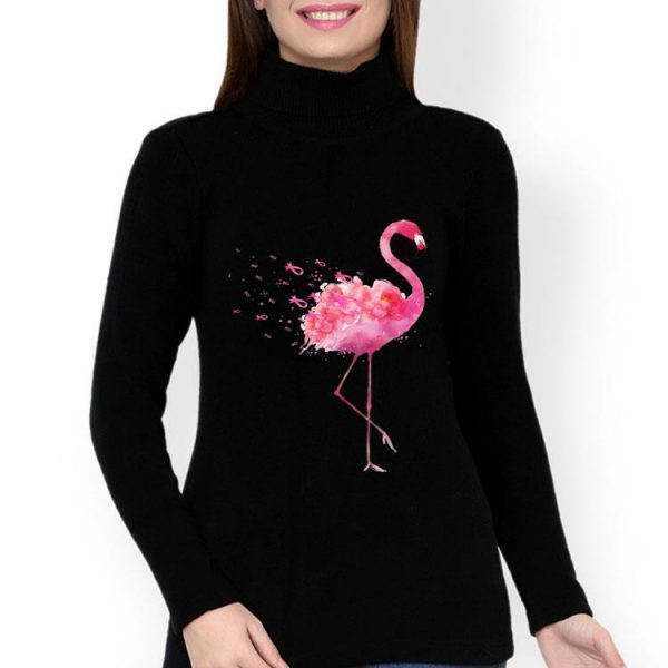Pink Ribbon Breast Cancer Awareness Flamingo Flower shirt