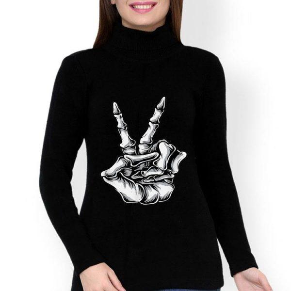 Skeleton Hand Peace Victory Sign Halloween shirt
