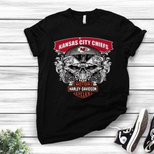 Skull Kansas City Chiefs Harley Davidson Motor Cycles shirt