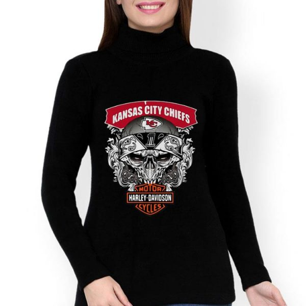 Skull Kansas City Chiefs Harley Davidson Motor Cycles shirt