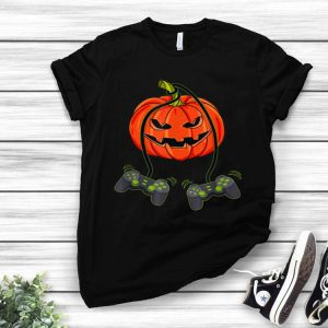 Video Gamer Controllers Halloween Jack O Lantern shirt
