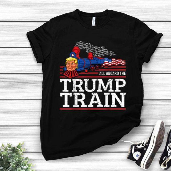 Vintage All Aboard The Trump Train 2020 American Flag shirt