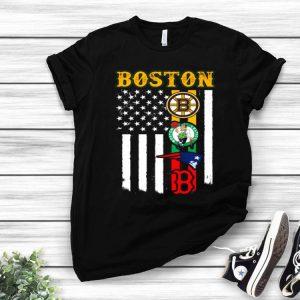 Boston New England Patriots Boston Celtics Bruins American Flag shirt