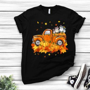 Cat Pumpkin Truck Halloween Thanksgiving Day Cat Lovers shirt