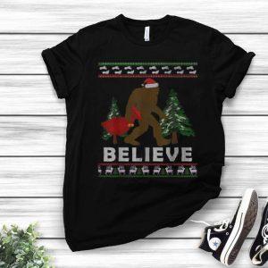 Christmas Santa Bigfoot Believe Ugly Christmas shirt
