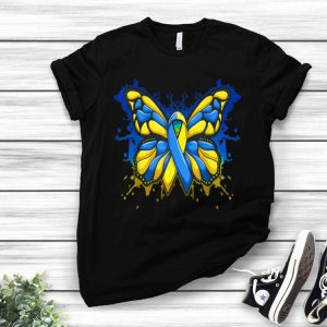 Down Syndrome Awareness Butterfly Blue And Yellow Ribbon shirt
