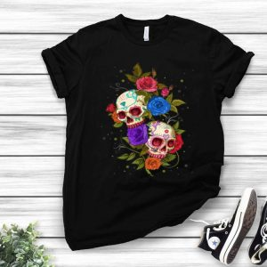 Halloween Roses And Sugar Skulls Day Of The Dead shirt