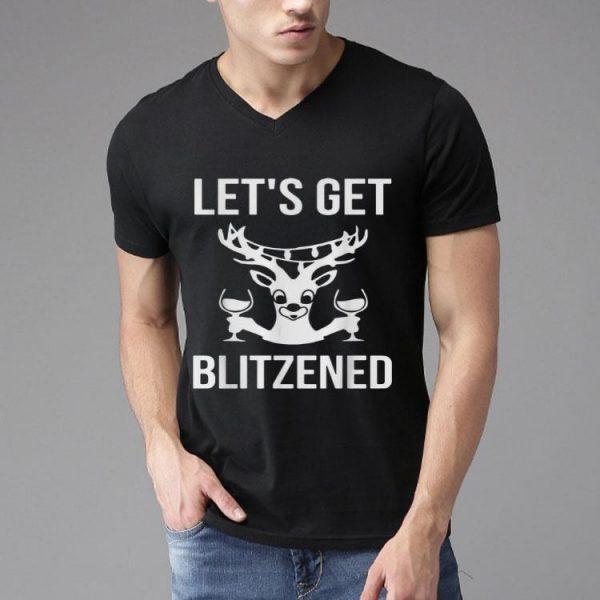 Let's Get Blitzened Reindeer Wine Drinking shirt