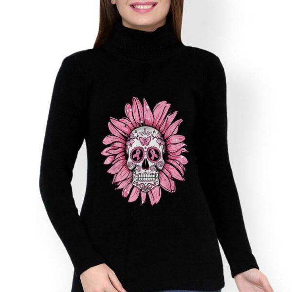 Sugar Skull Sunflower Breast Cancer Awareness shirt