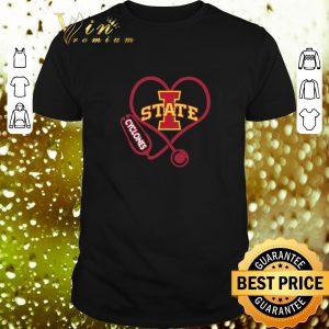 Awesome Love Iowa State Cyclones Stethoscope Heartbeat nurse shirt