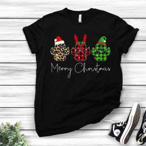 Dog Paws Leopard Plaid Pajama Merry Christmas shirt