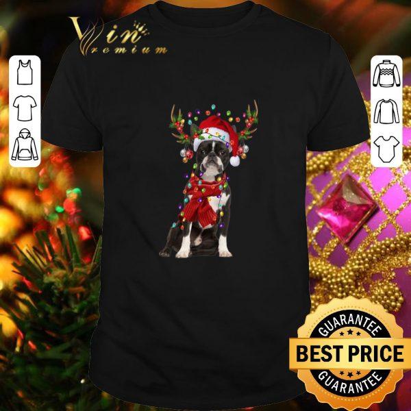 Hot Boston Terrier Reindeer Christmas shirt