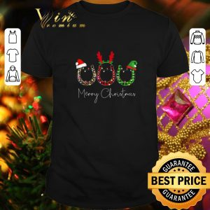 Hot Horseshoe Merry Christmas Leopard Plaid With Lights shirt