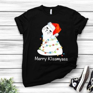 Merry Kissmyass Cat Lover Christmas shirt