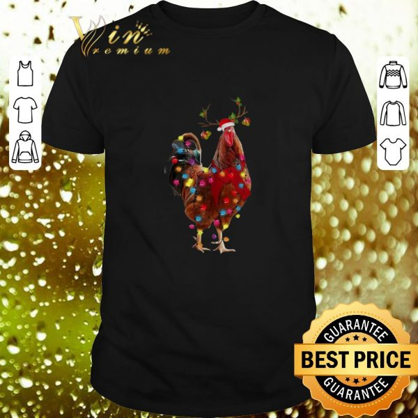 Original Christmas chicken santa reindeer shirt