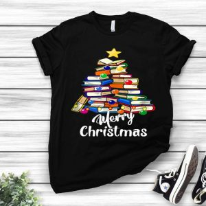 Reading Books Tree Librarian Merry Christmas Book Lovers shirt