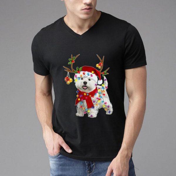 Santa Westie Dog Gorgeous Reindeer Christmas Light shirt