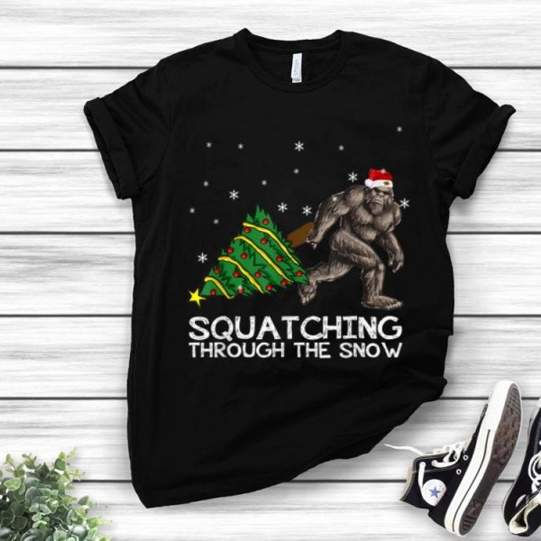 Squatching Through The Snow Bigfoot Christmas Tree shirt