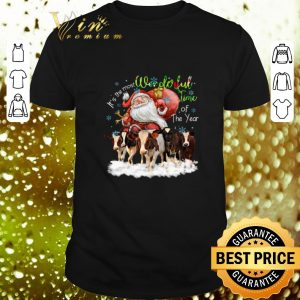 Top Santa riding Cows It's the most wonderful time of the year shirt