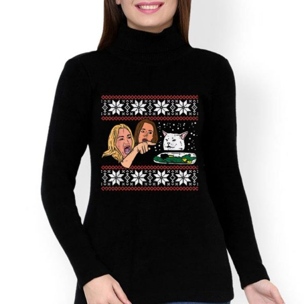 Woman Yelling At A Cat Meme Ugly Christmas Sweater shirt