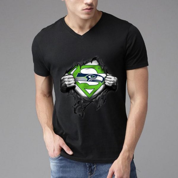 Merry Christmas Superman Seattle Seahawk Inside shirt