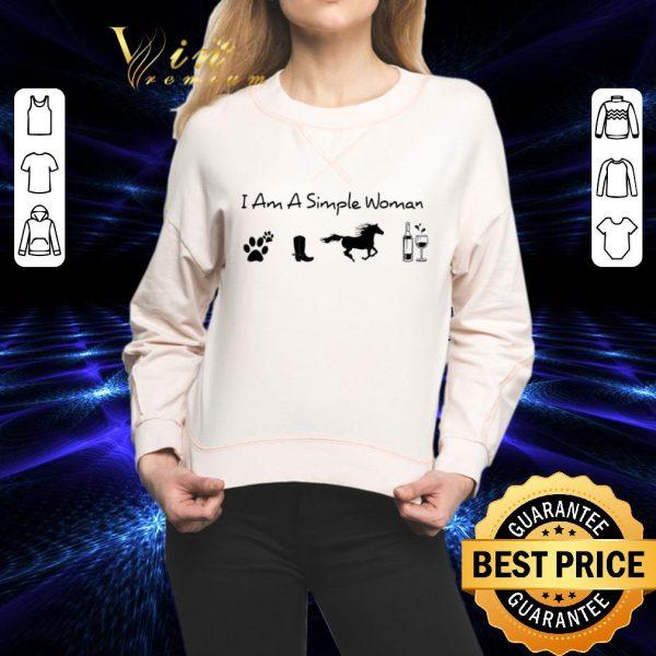 Original I am a simple woman i like dog paw horse wine shirt
