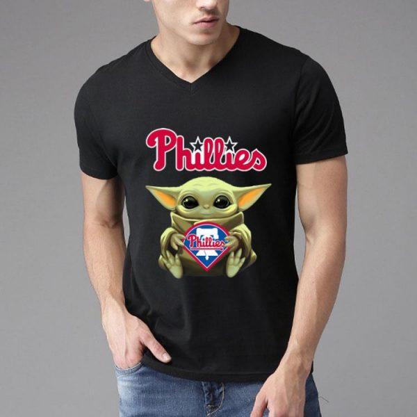 Star Wars Softball Baby Yoda Hug Philadelphia Phillies shirt