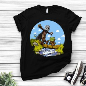 Stormtrooper And Baby Yoda Walking On The River shirt