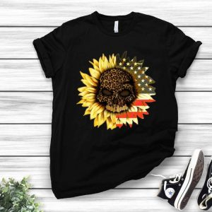 American Flag Leopard Print Skull In Sunflower shirt