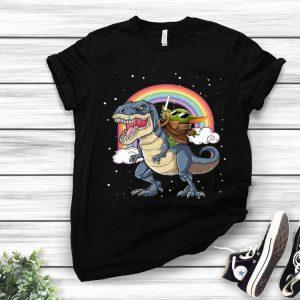 Star Wars Baby Yoda Riding Dinosaur T-rex Rainbow shirt