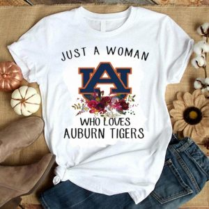 Just A Woman Who Loves Auburn Tigers Football Floral shirt