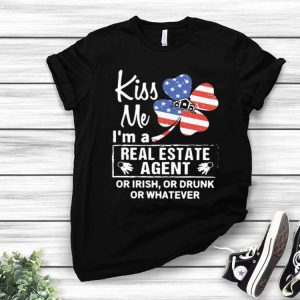 Kiss Me I'm A Real Estate Agent American Flag Shamrock shirt