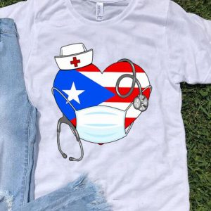 Puerto Rico Flag Heart Nurse Stethoscope shirt